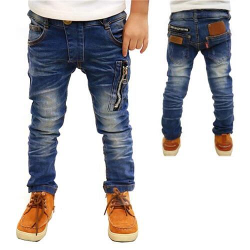 Kids Children Boy Straight Leg Zipper Pant All Seasons Denim Blue Jeans Age 4-10
