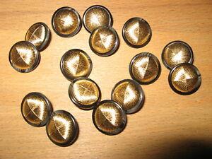12-Knoepfe-Gold-Rand-Schwarz-Anthrazit-glaenzend-schoenes-Muster16-mm-Steg-NEU
