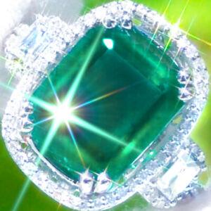 Emerald-Ring-14k-GOLD-8-35ct-VS-Diamond-ESTATE-Vintage-Cocktail-Emerald-Ring-NR