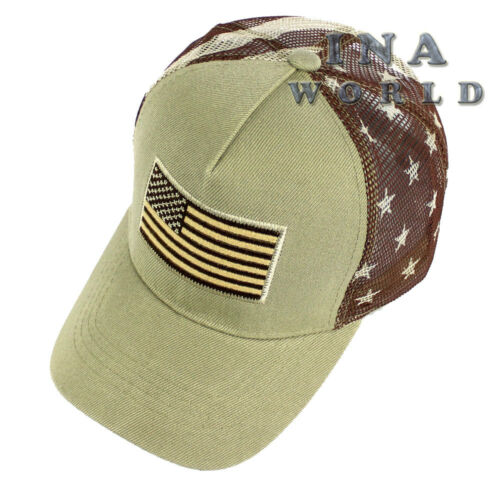 USA American Flag hat Tactical Snapback Baseball cap Flag Printed on Mesh Khaki