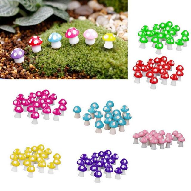 10X Cute Mini Mushroom Garden Ornament Miniature Plant Pots Fairy Dollhouse SEAU