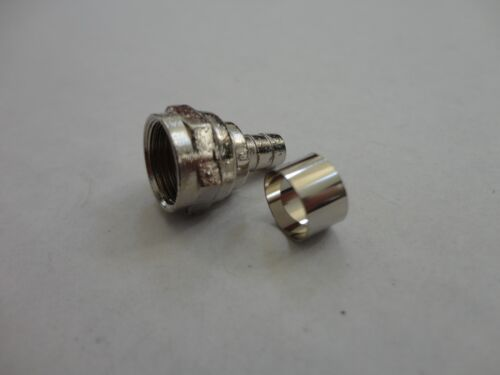 10 Pack F-Type Connector with Crimp on Ring RG59U Coaxial Adapter Plugs