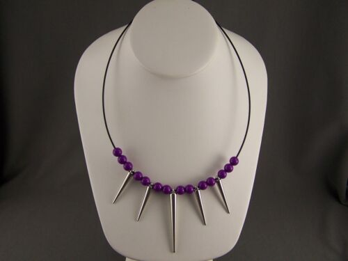 "Purple beaded Silver spike Black wire necklace dangle Spiked 18/"" 19.5/"" long"