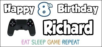 Xbox Controller 8th Birthday Banner x 2 Party Decorations Boys Girls ANY NAME