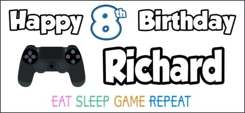 PS4 Controller 8th Birthday Banner x 2 Party Decorations Girls Boys ANY NAME