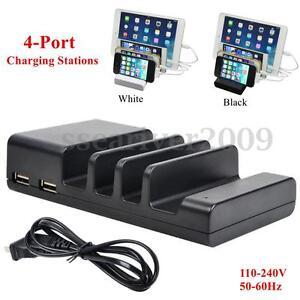 4 port multi usb charging station stand desktop charger dock for phone tablet ebay. Black Bedroom Furniture Sets. Home Design Ideas