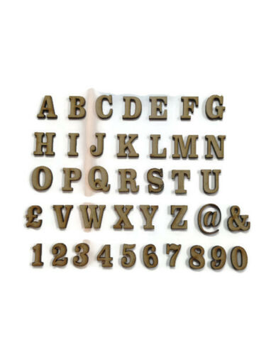 Wooden MDF Georgian Letters 2cm Numbers 10cm sizes