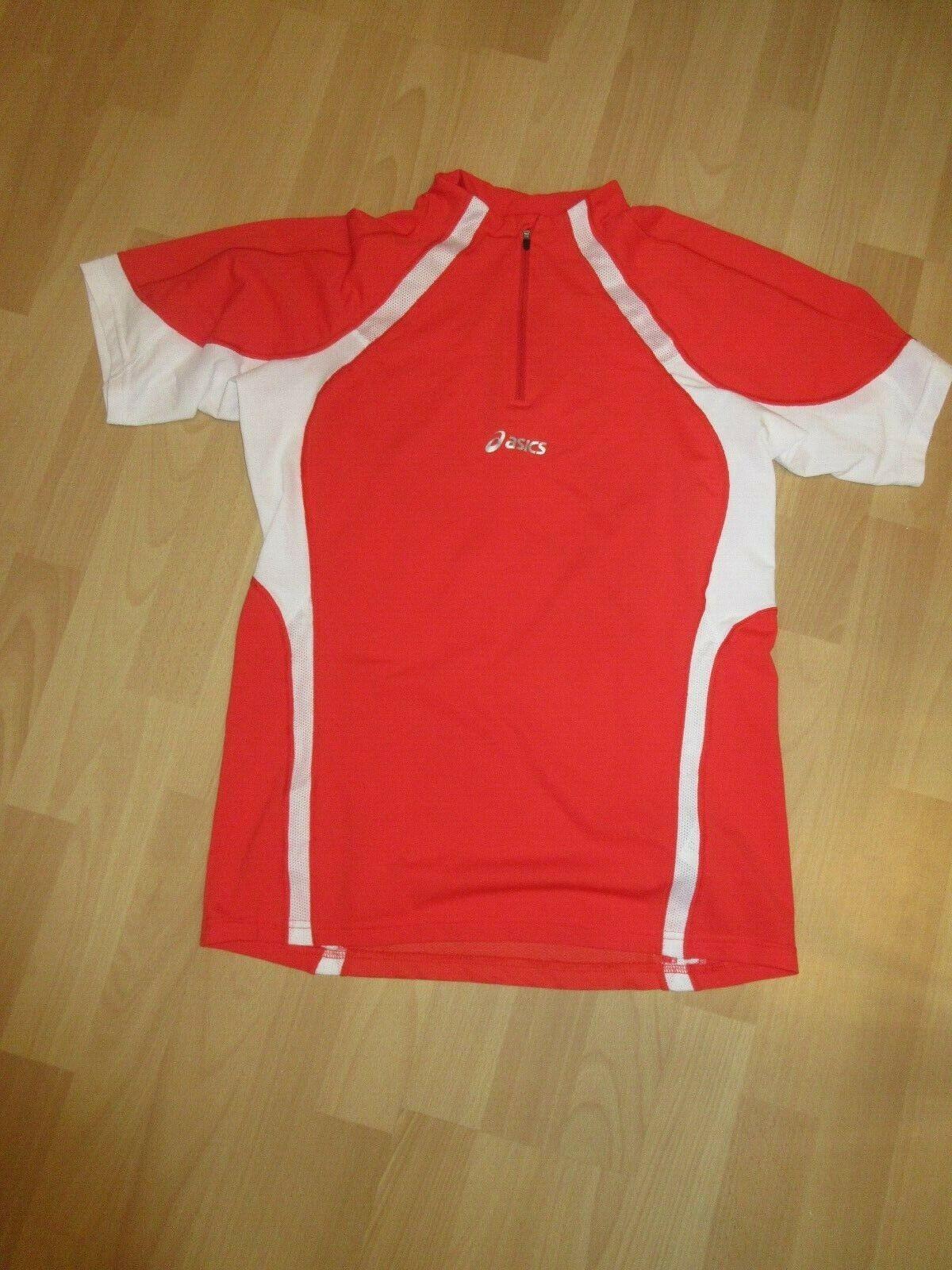 Asics Laufshirt 1 2 zip Halfzip Laufshirt shortsleeve shirt rot weiss Gr. M