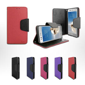 newest ad4d2 43e55 Details about For Cricket LG Fortune M153 Leather Wallet Flip Folio Stand  Case Soft Cover