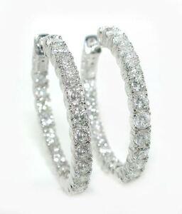4-CT-GORGEOUS-1-Inch-In-amp-Out-DIAMOND-Hoop-Earrings-14K-WG