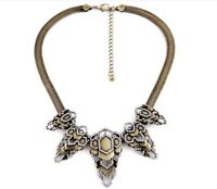 New Dot & Line stella antique brass hollow crystal geographic bib dot necklace