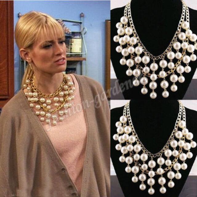 New Caroline Broke Girls Gold Cream Big Pearl Pendant Chain Multilayer Necklace