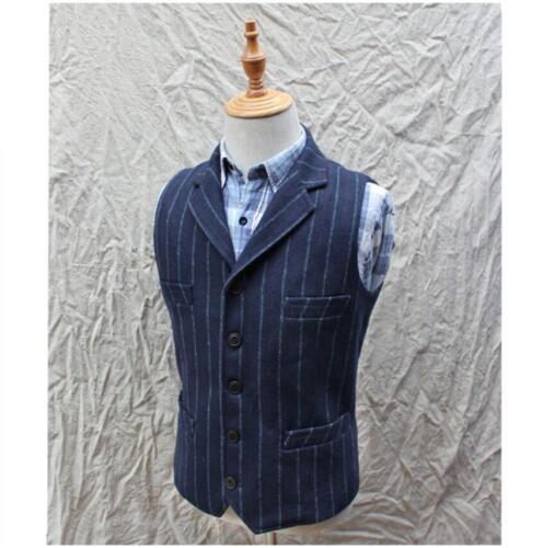 Mens Winter Wool Blend Tweed Herringbone Stripe Lapel Waistcoat Vest Vintage Top
