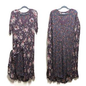 Nostalgia-Vintage-90s-Lace-Floral-Rayon-Crinkle-Dress-Womens-Large-Boho-Romantic