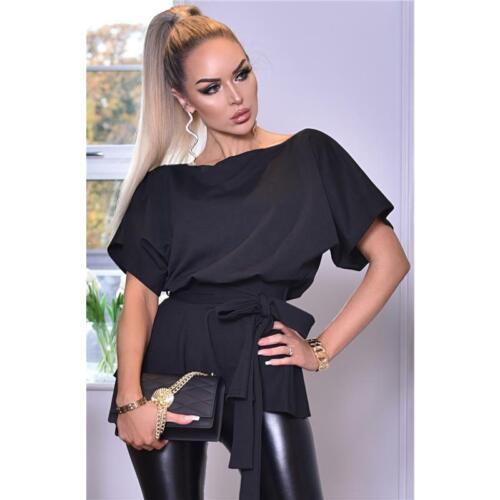 Gürtel Schwarz #S1219 Damen Kurzarm Shirt mit Schößchen inkl
