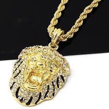 "Mens Gold Iced Out Cz Lion Face Pendant 24"" Rope Chain Hip Hop Necklace D502"