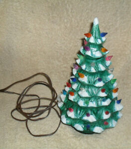Vtg.10 Inch lighted Green with Frosted Snow Tips Christmas ...