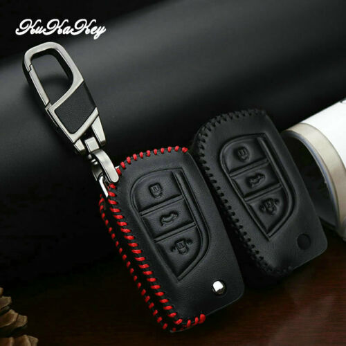 Leather Car Key Fob Case Holder Bag Key Cover For Toyota Yaris Camry Corolla Key