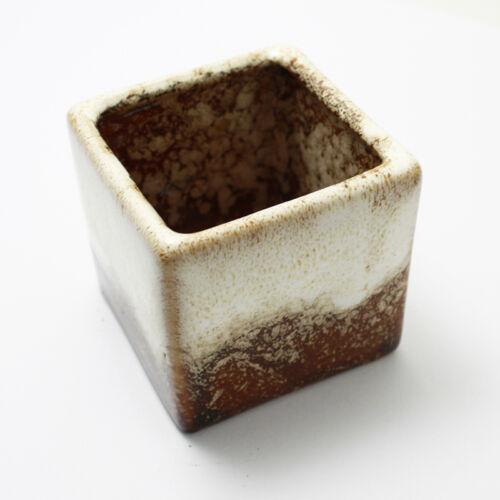 Mini Glazed Ceramic Planter Flower Succulent Plant Square Box Bonsai Pot Decor