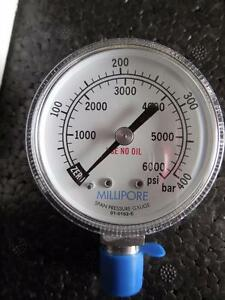 NEW MILLIPORE Span Pressure Gauge 0-6000 PSI SHIPS TODAY!
