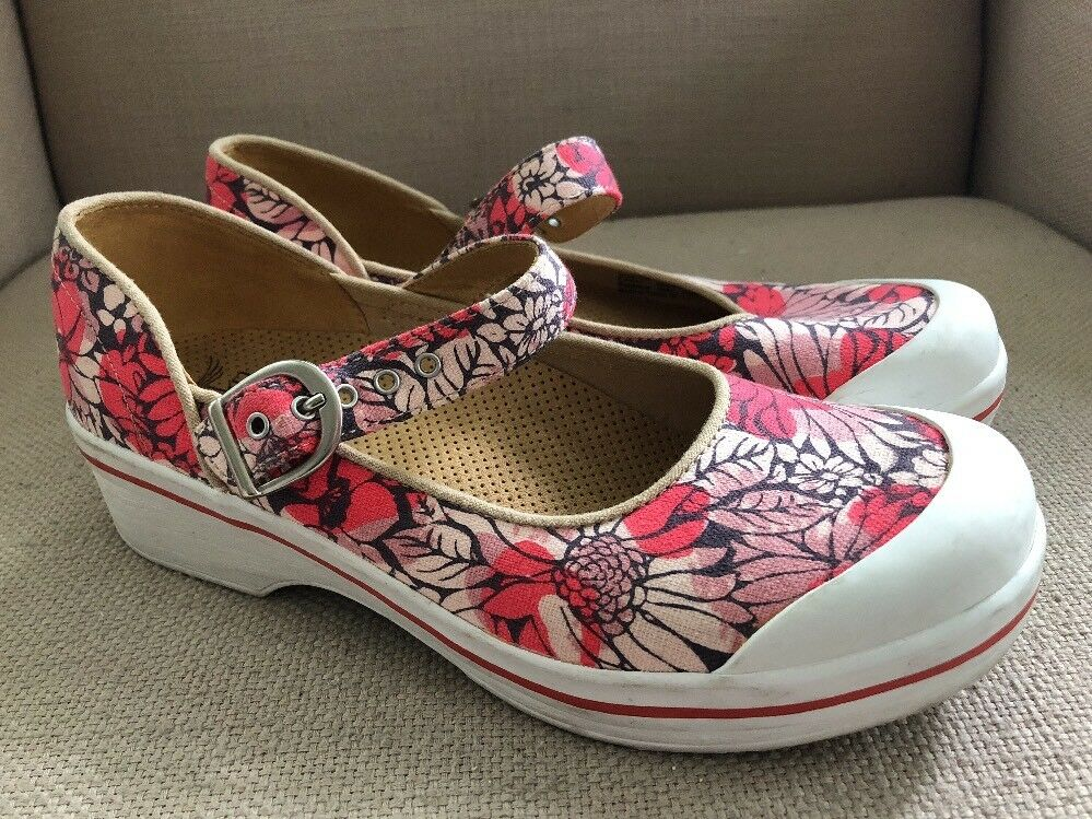 Dansko Vegan Red Pink Floral canvas mary jane clogs US womens 8.5