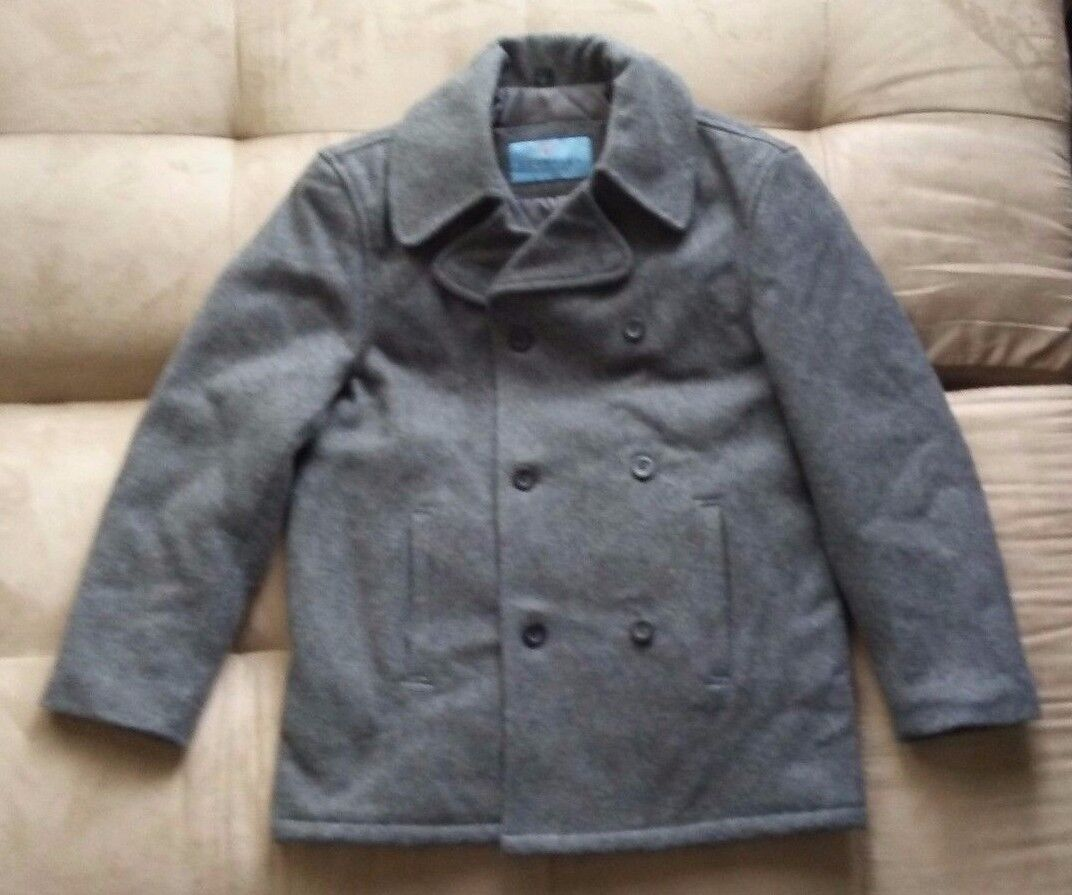 KENNETH COLE REACTION CHARCOAL GREY WOOL MELTON PEACOAT DOUBLE BREASTED SMALL