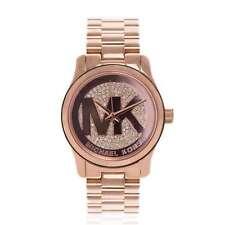 MICHAEL KORS Uhr MK5853 RUNWAY LOGO Damen Edelstahl Rosegold Armbanduhr Strass