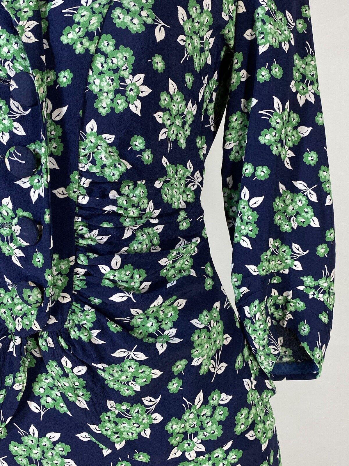 Vintage early 1940's floral silk crepe 2-pc. skir… - image 11