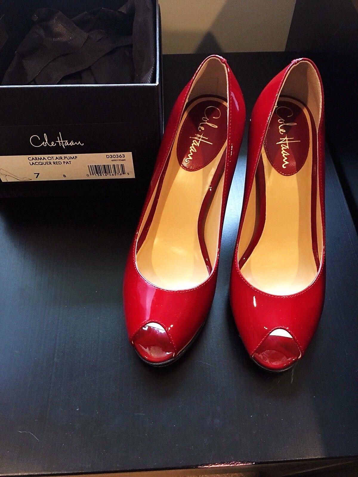 Cole Haan Chaussures Carma Ot pompe à air Noir Patent Peep Toe Talons, Rouge, Taille 7