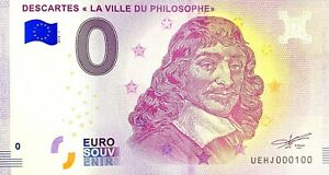 BILLET 0  EURO DESCARTES LA VILLE DU PHILOSOPHE  FRANCE  2018  NUMERO 100