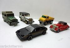 5 Vintage Tomica Pocket Cars Esprit Land Cruiser Packard Coupe Unimog Japan TOMY