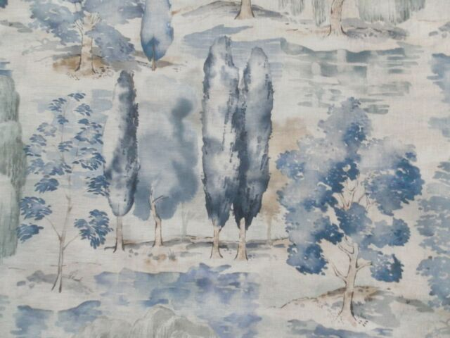 Sanderson Curtain Fabric WATERPERRY 0.95m Indigo -100% Linen Design 95cm