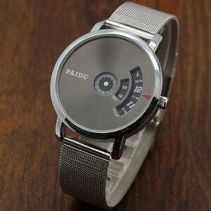 Fashion-Quartz-Wrist-Watch-Stainless-Steel-Mesh-PAIDU-Turntable-Dial-Mens-Gift