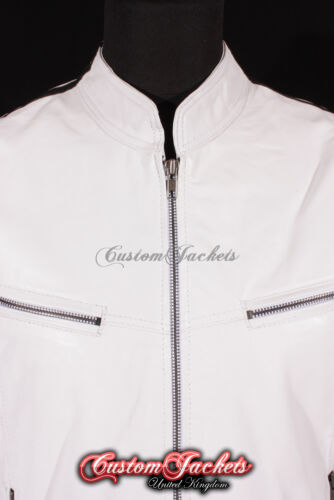 """Camicia Uomo /""""RACER/"""" Bianco con nero Racing Stripe MOTORCYCLE STYLE leather jacket"""
