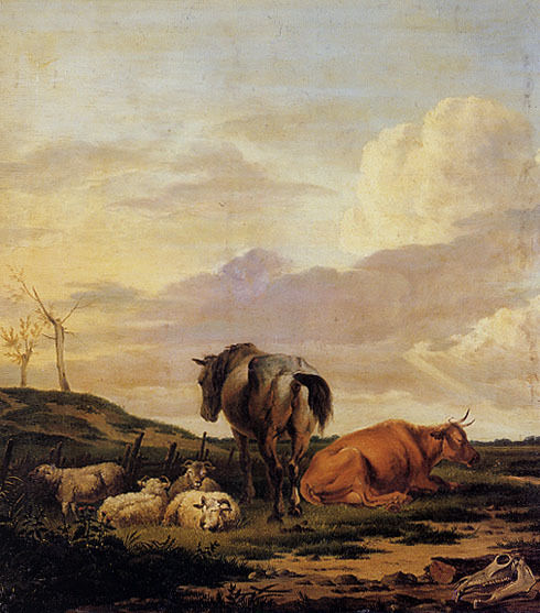 COW CATTLE HORSE SHEEP FARM RURAL LANDSCAPE PAINTING BY A. ORLOVSKY REPRO
