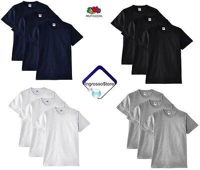 Bellissimo Fruit Of The Loom Heavy Cotton Cotone 3 Pezzi T-shirt Uomo Maglietta Maglia