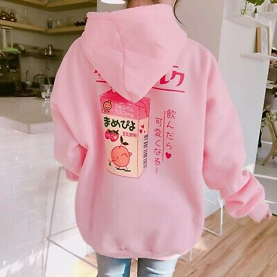 look good shoes sale huge selection of new images of Korean Cartoon Harajuku Printed Milk Box Kawaii Pink Anime Hoodie ...