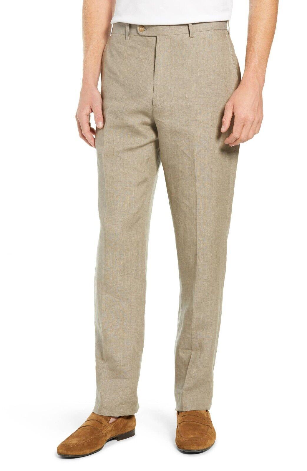 John W Nordstrom Mens Pants Beige Linen Flat Front Ormezzano Casual Career 34 R