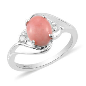 925 Sterling Silver Platinum Over Peach Opal Zircon Statement Ring Ct 1