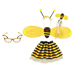 5pcs Children Bee Costume Insect Girls Fancy Dress Kids Outfit Party Glasses