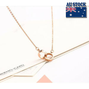 Fashion-18K-Rose-GOLD-Filled-Cute-little-Linked-Heart-Rings-Pendant-Necklace