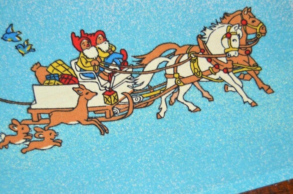 SANTA & GNOMES N HORSE DRAWN SLEIGH  VTG GERMAN CHRISTMAS PRINT TABLECLOTH BUNNY