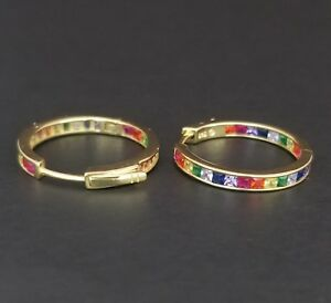 14k-Yellow-Gold-Sterling-Silver-Square-Ruby-amp-Rainbow-Multi-Gem-Hoop-Earrings