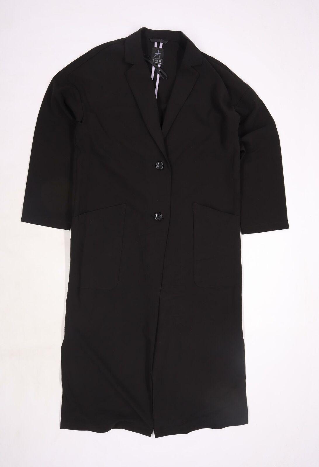 Atmosphere Womens Black Rayon Overcoat Jacket Size 8