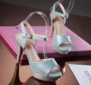 scarpe originali alta moda scarpe autunnali Sandali donna Con Plateau colore azzurro eleganti comodi tacco 8 ...