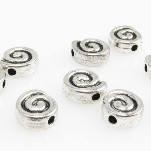 10 Metallperlen Schnecken altsilber Metall Perlen 7mm Beads Schmuckperlen