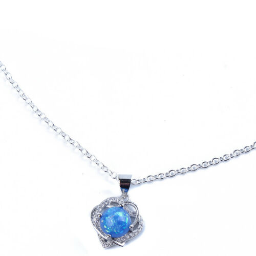 New Silver Plated Women/'s Heart Pendant Necklace With Crystal  Jewelry 6A