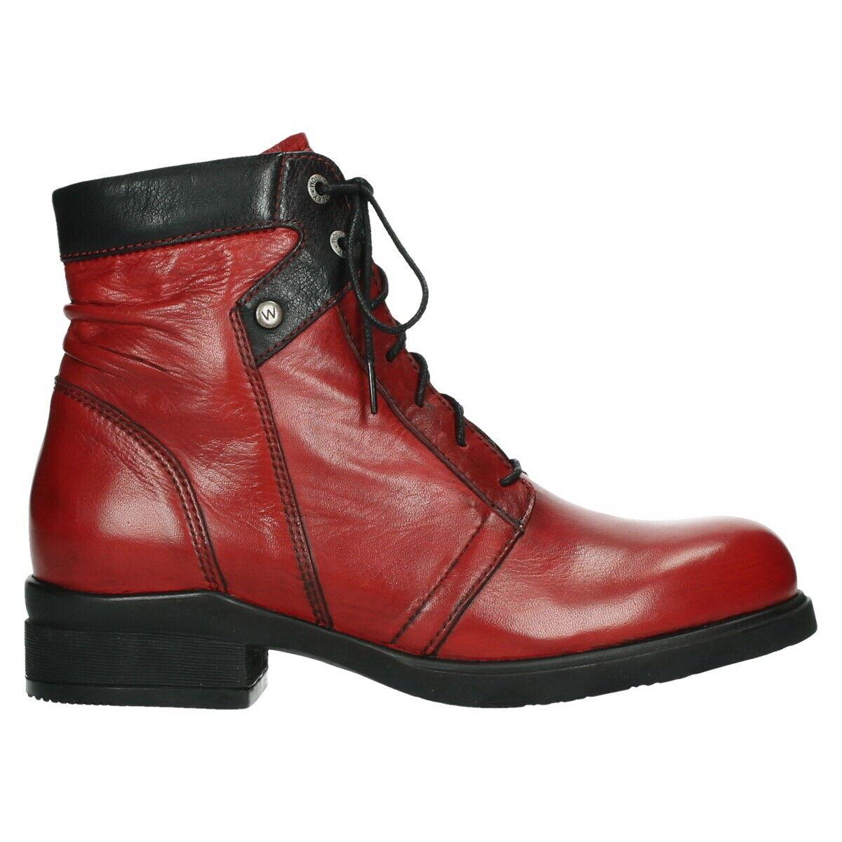 Wolky Stiefel Center XW Dark rot Rot Glatt Leder Einlage Schnür Stiefel 02629 20505