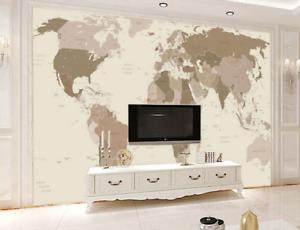 3D World Map Retro 744 Wall Paper Murals Wall Print Wall Wallpaper Mural AU Kyra