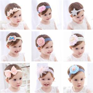 Neugeborene-Kinder-Baby-Maedchen-Kleinkind-Blumen-Stirnband-Haarbaender-Kop-BHO